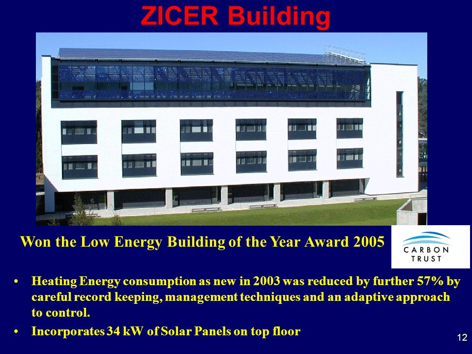 ZICER Building Heating Energy consumption as new in 2003 was reduced by further 57% by careful record keeping, management techniques and an adaptive approach to control.