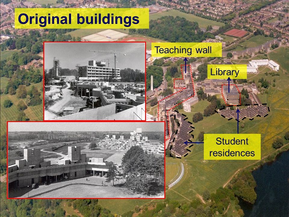3 Original buildings Teaching wall Library Student residences