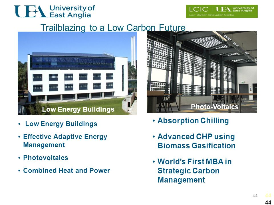 44 Low Energy Buildings Effective Adaptive Energy Management Photovoltaics Combined Heat and Power Absorption Chilling Advanced CHP using Biomass Gasification Worlds First MBA in Strategic Carbon Management Low Energy Buildings Photo-Voltaics Efficient CHP Absorption Chilling Trailblazing to a Low Carbon Future Low Energy Buildings