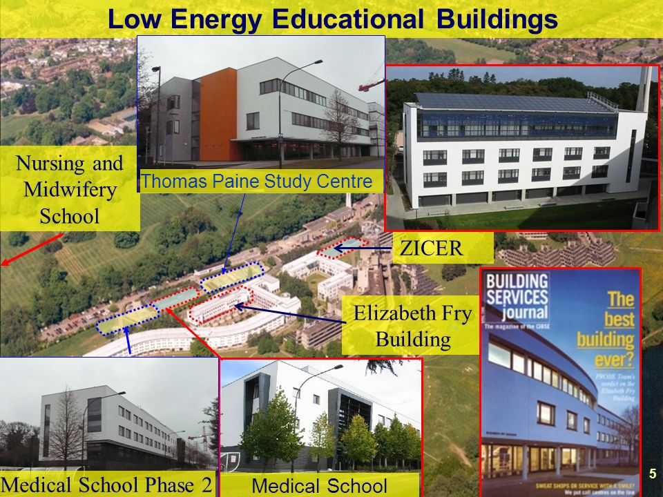 5 Low Energy Educational Buildings Elizabeth Fry Building ZICER Nursing and Midwifery School Medical School 5 Medical School Phase 2 Thomas Paine Study Centre