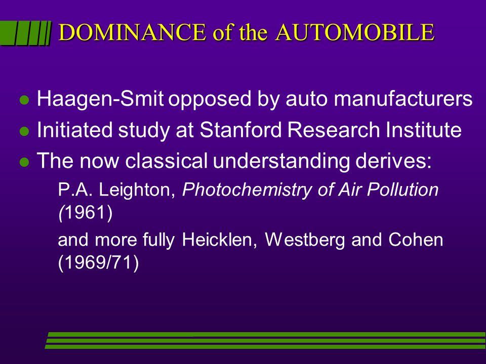DOMINANCE of the AUTOMOBILE l Haagen-Smit opposed by auto manufacturers l Initiated study at Stanford Research Institute l The now classical understanding derives: P.A.