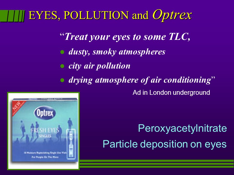EYES, POLLUTION and Optrex Treat your eyes to some TLC, l dusty, smoky atmospheres l city air pollution drying atmosphere of air conditioning Ad in London underground Peroxyacetylnitrate Particle deposition on eyes