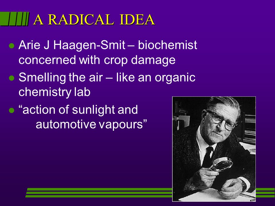 A RADICAL IDEA l Arie J Haagen-Smit – biochemist concerned with crop damage l Smelling the air – like an organic chemistry lab l action of sunlight and automotive vapours