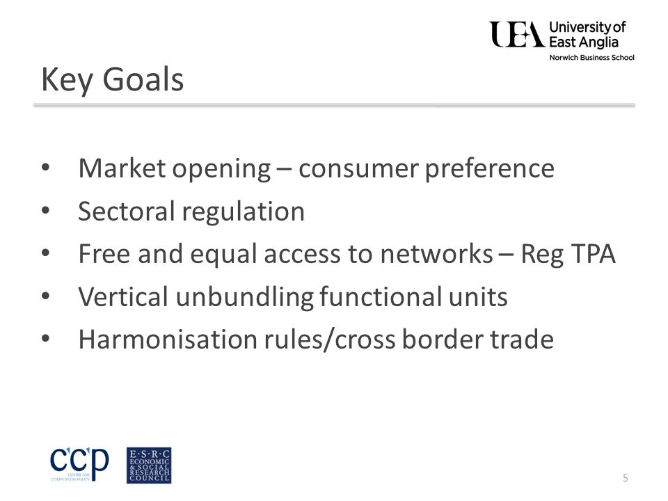 Key Goals Market opening – consumer preference Sectoral regulation Free and equal access to networks – Reg TPA Vertical unbundling functional units Harmonisation rules/cross border trade 5
