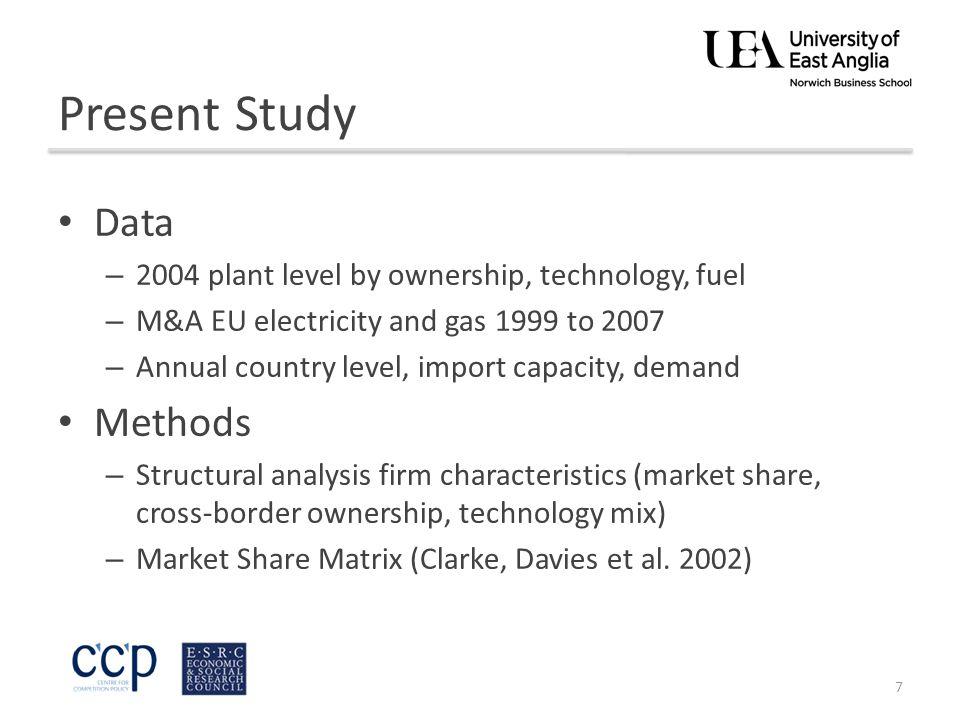 Present Study Data – 2004 plant level by ownership, technology, fuel – M&A EU electricity and gas 1999 to 2007 – Annual country level, import capacity, demand Methods – Structural analysis firm characteristics (market share, cross-border ownership, technology mix) – Market Share Matrix (Clarke, Davies et al.