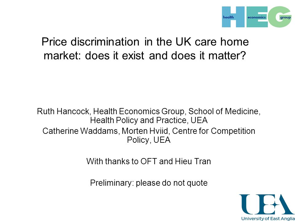 Price discrimination in the UK care home market: does it exist and does it matter.