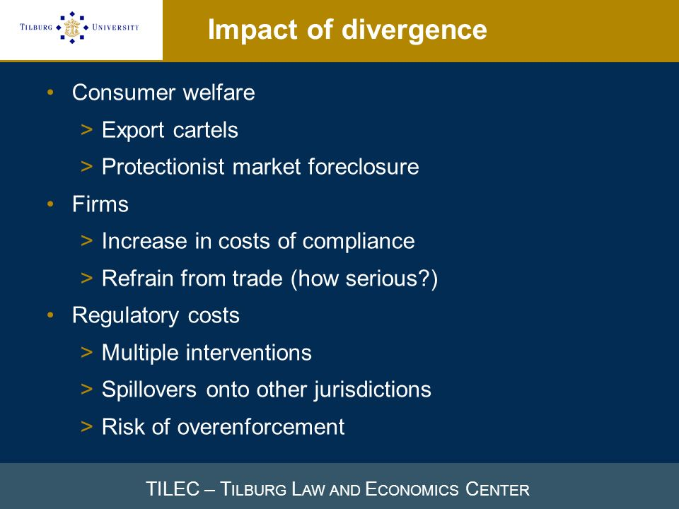 TILEC – T ILBURG L AW AND E CONOMICS C ENTER Impact of divergence Consumer welfare >Export cartels >Protectionist market foreclosure Firms >Increase i