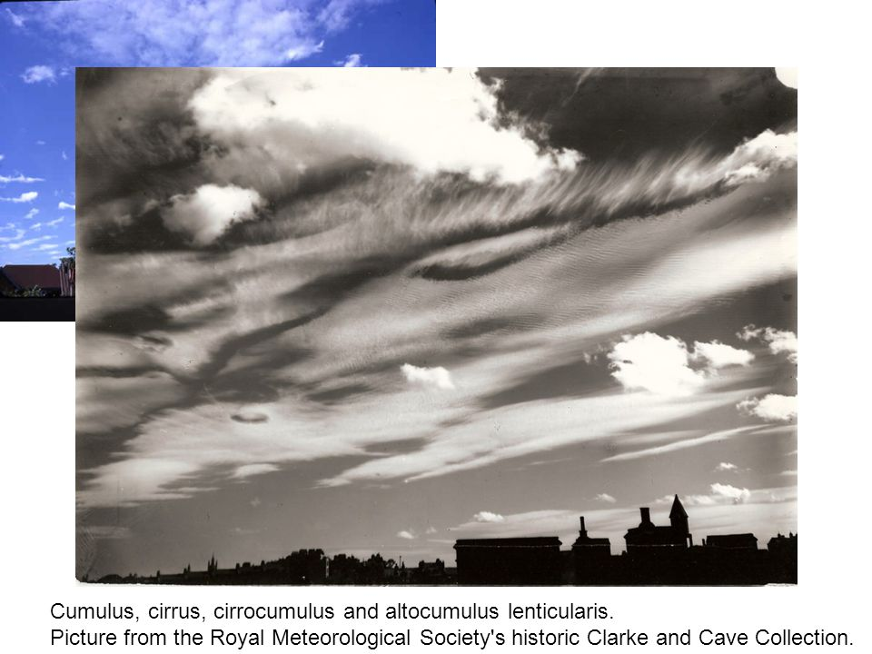 Cumulus, cirrus, cirrocumulus and altocumulus lenticularis. Picture from the Royal Meteorological Society's historic Clarke and Cave Collection.