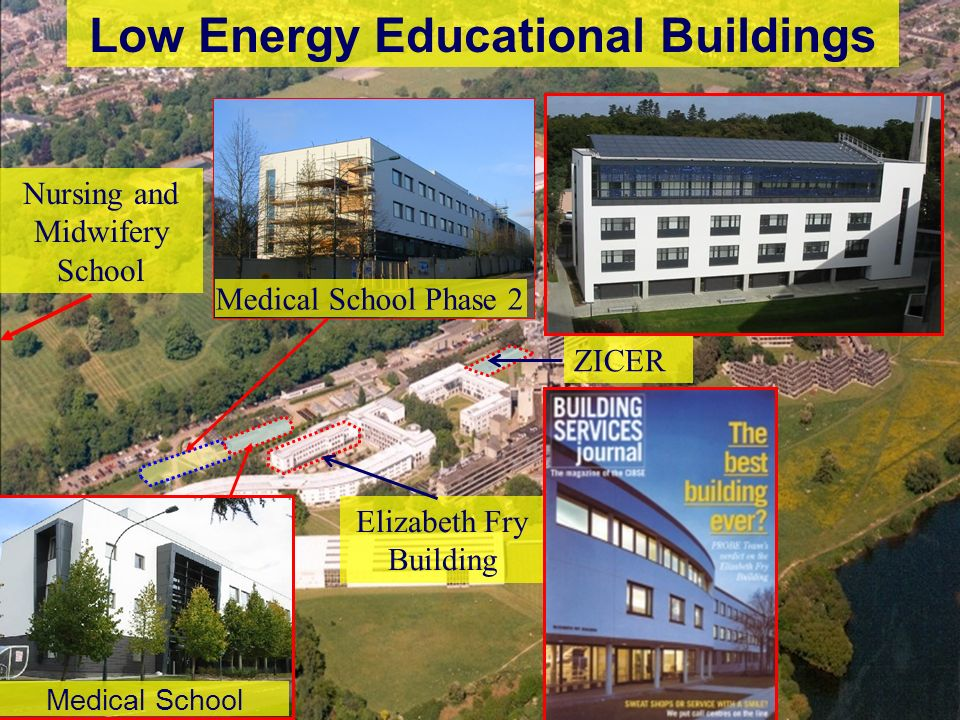 4 Low Energy Educational Buildings Elizabeth Fry Building ZICER Nursing and Midwifery School Medical School Medical School Phase 2