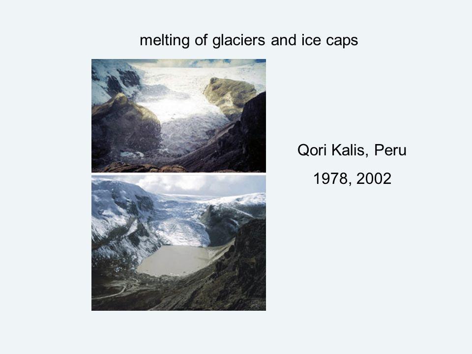melting of glaciers and ice caps Qori Kalis, Peru 1978, 2002