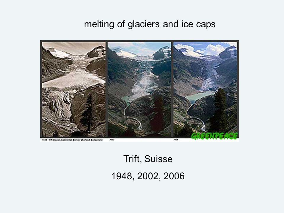 Trift, Suisse 1948, 2002, 2006 melting of glaciers and ice caps
