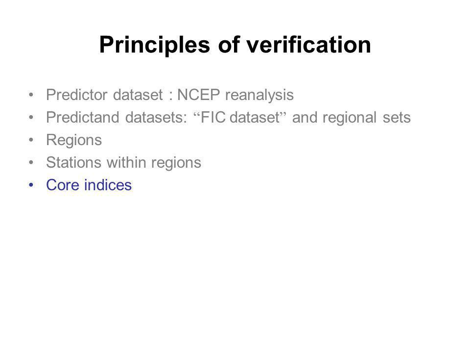 Principles of verification Predictor dataset : NCEP reanalysis Predictand datasets: FIC dataset and regional sets Regions Stations within regions Core