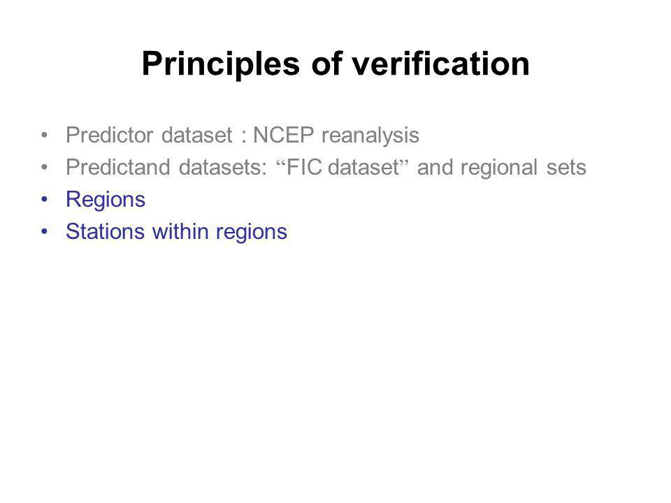 Principles of verification Predictor dataset : NCEP reanalysis Predictand datasets: FIC dataset and regional sets Regions Stations within regions