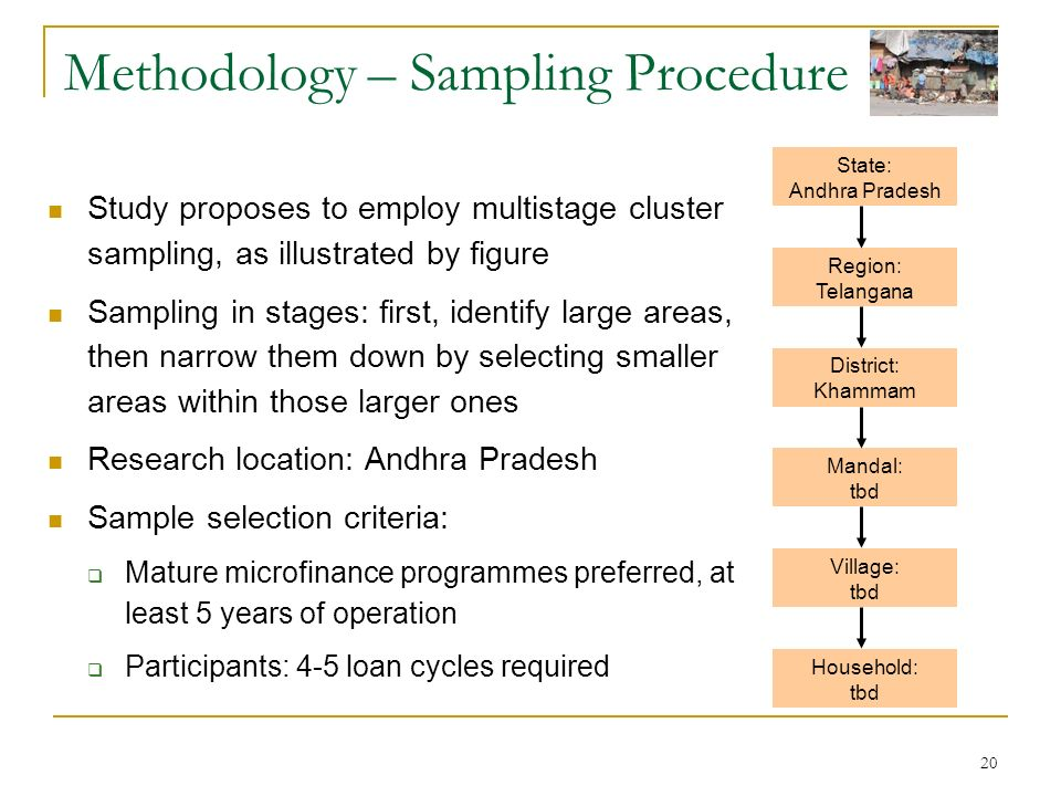 20 Methodology – Sampling Procedure Study proposes to employ multistage cluster sampling, as illustrated by figure Sampling in stages: first, identify large areas, then narrow them down by selecting smaller areas within those larger ones Research location: Andhra Pradesh Sample selection criteria: Mature microfinance programmes preferred, at least 5 years of operation Participants: 4-5 loan cycles required Region: Telangana District: Khammam Mandal: tbd Village: tbd State: Andhra Pradesh Household: tbd