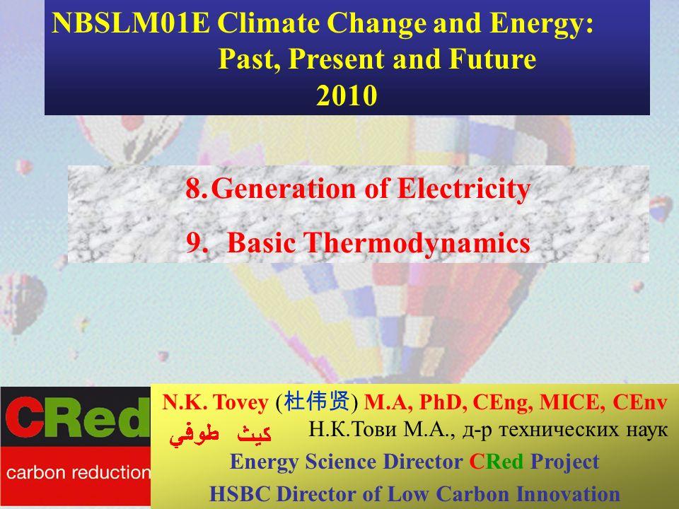 1 8.Generation of Electricity 9. Basic Thermodynamics Maxine Narburgh CSERGE N.K. Tovey ( ) M.A, PhD, CEng, MICE, CEnv Н.К.Тови М.А., д-р технических
