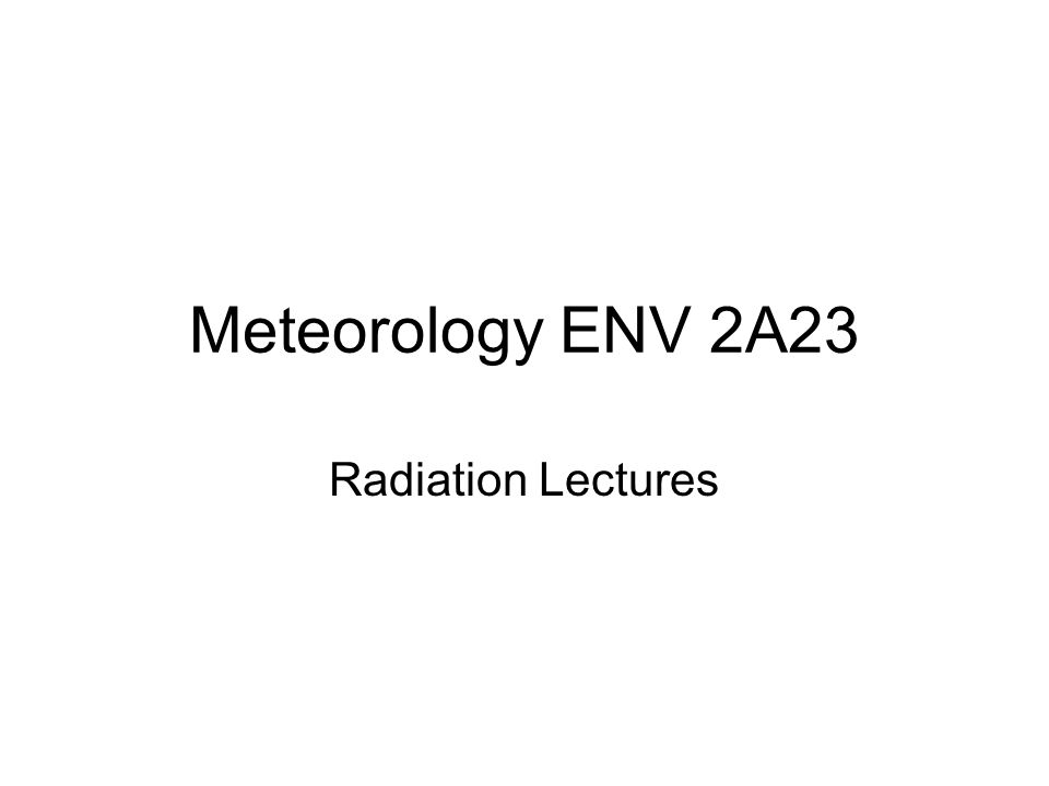 Emission temperature of a planet Energy incident on planet = solar flux density x shadow area But not all radiation is absorbed, some is reflected: albedo (α) = reflected/incident radiation Absorbed solar radiation = S 0 (1- α)π r e 2 (W) Absorbed solar radiation per unit area = S 0 (1- α)/4 (W m -2 ) This must be balanced by terrestrial emission.