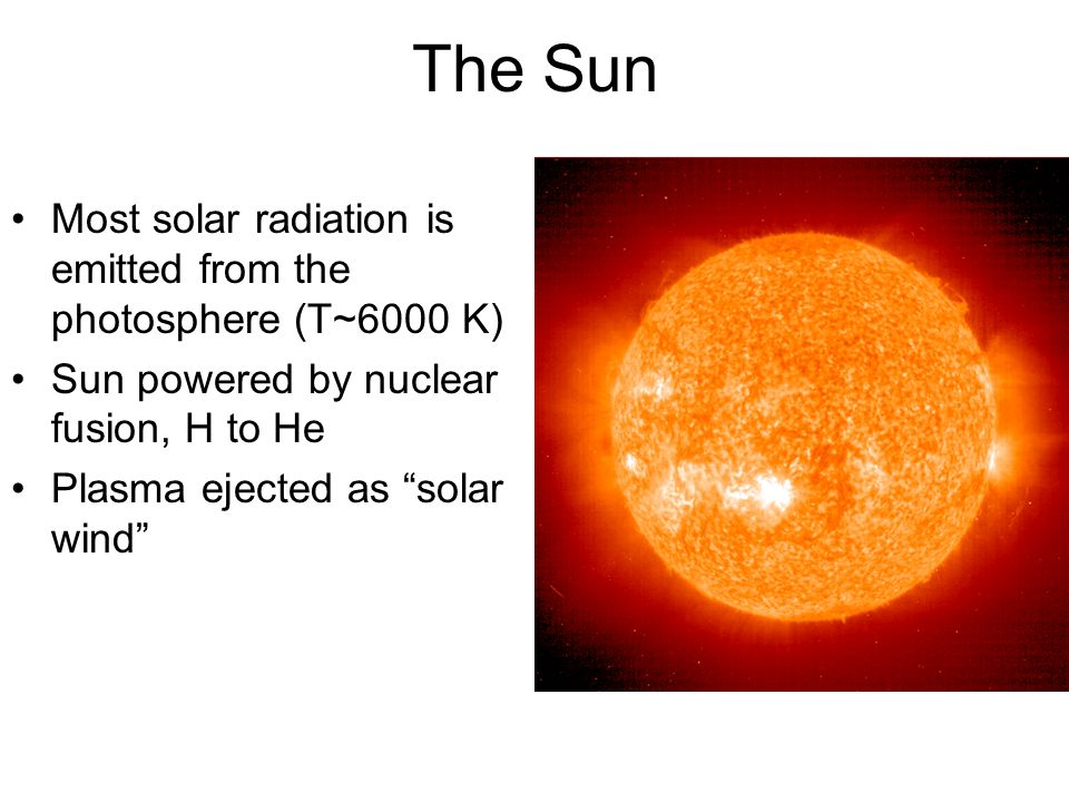 The Sun Most solar radiation is emitted from the photosphere (T~6000 K) Sun powered by nuclear fusion, H to He Plasma ejected as solar wind