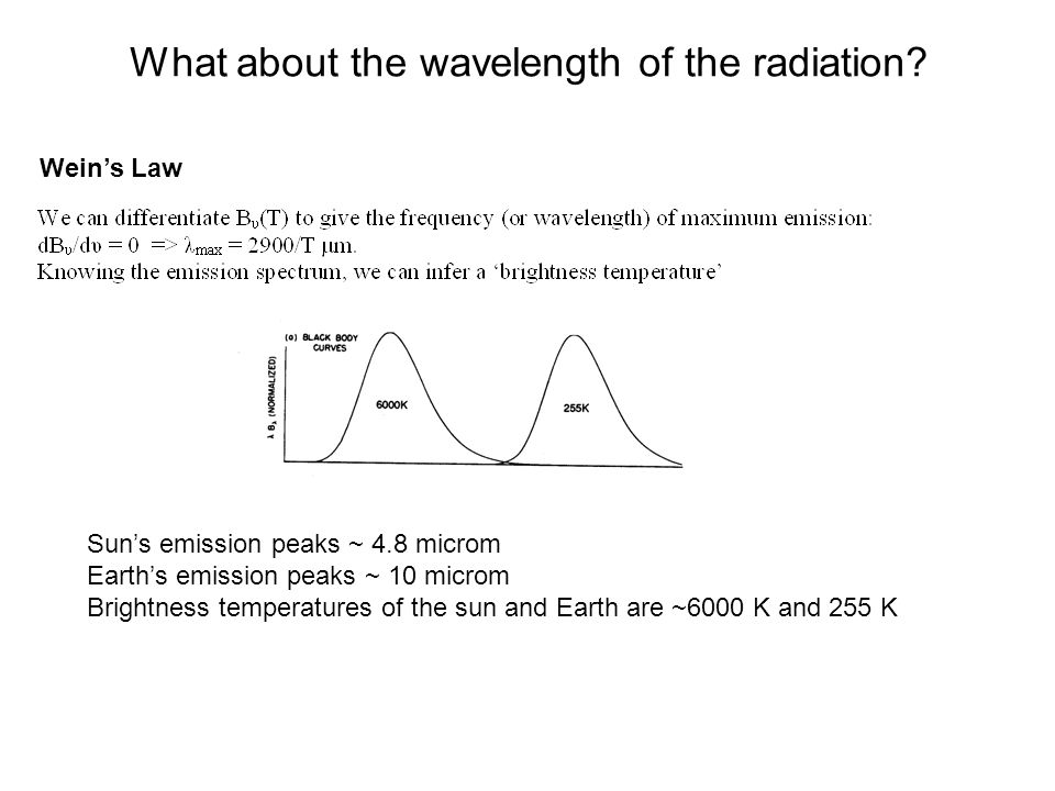 What about the wavelength of the radiation? Weins Law Suns emission peaks ~ 4.8 microm Earths emission peaks ~ 10 microm Brightness temperatures of th