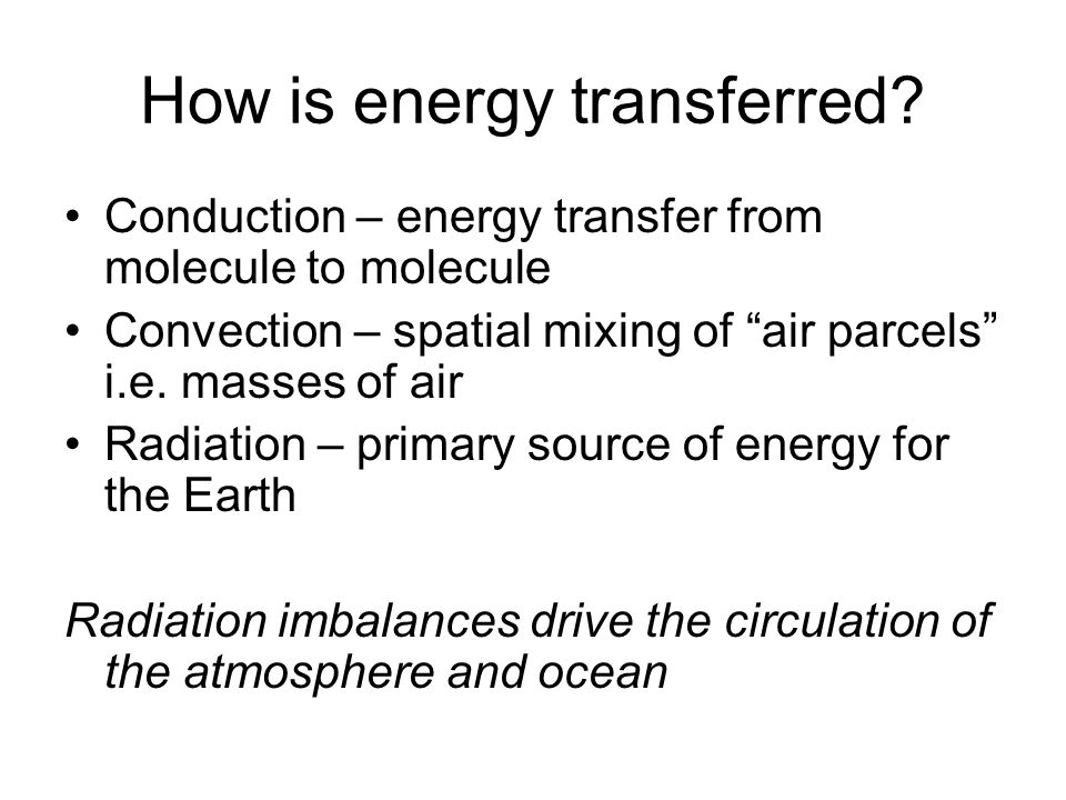As well as the distribution of insolation, the amount of energy absorbed and emitted depends on atmospheric and surface conditions.