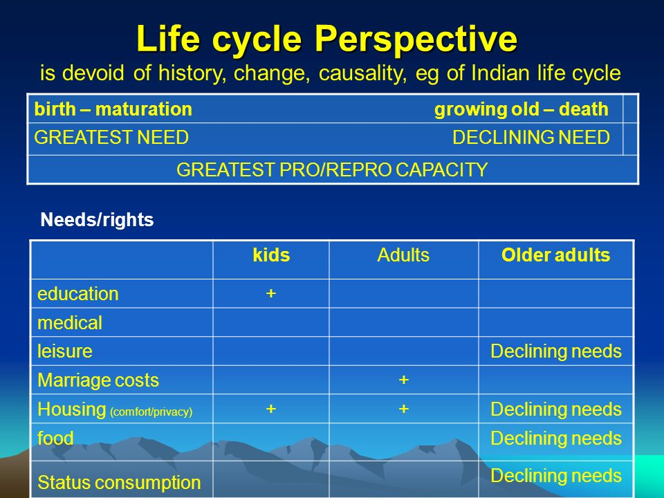Life cycle Perspective birth – maturation growing old – death GREATEST NEED DECLINING NEED GREATEST PRO/REPRO CAPACITY Needs/rights is devoid of history, change, causality, eg of Indian life cycle kidsAdultsOlder adults education+ medical leisureDeclining needs Marriage costs+ Housing (comfort/privacy) ++Declining needs foodDeclining needs Status consumption Declining needs