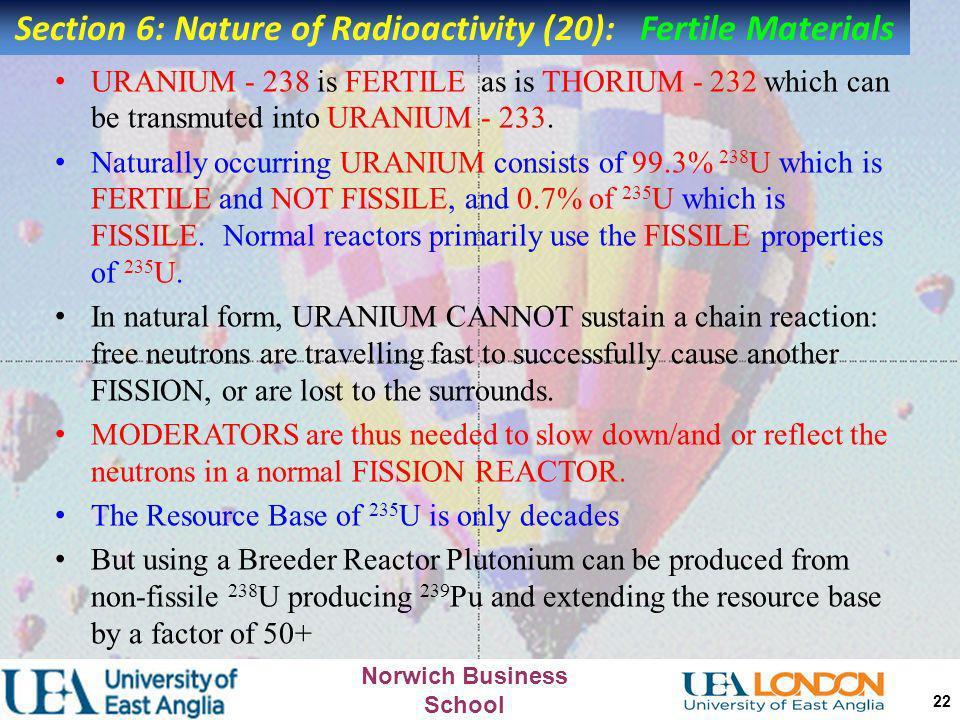 Norwich Business School 21 FERTILE MATERIALS Some elements like URANIUM - 238 are not FISSILE, but can transmute:- n 238 U fast neutron 239 U 238 U Ur