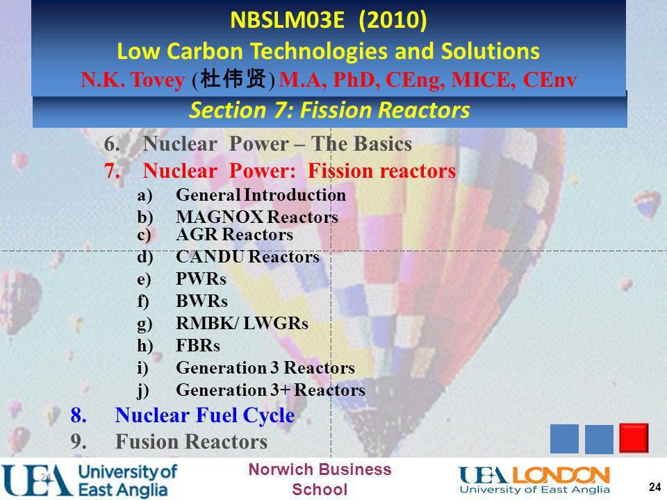 Norwich Business School 23 n n n 235 U n n n fast neutron Slow neutron fast neutron n Fast Neutrons are unsuitable for sustaining further reactions Sl