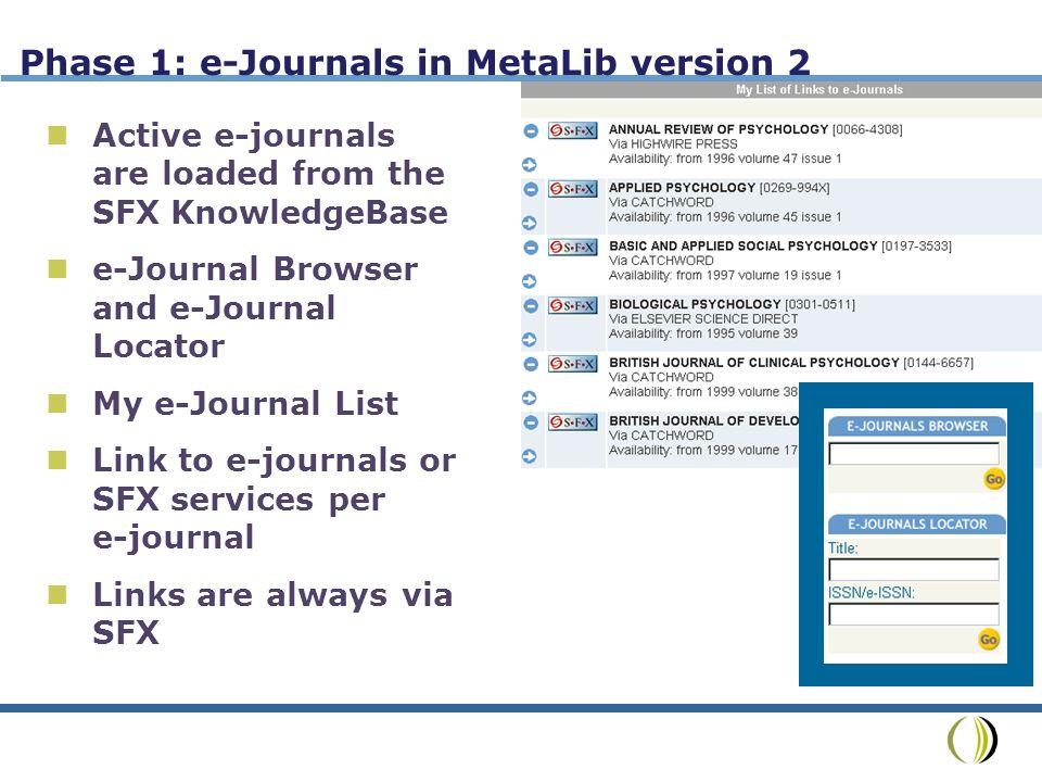 Phase 2: E-Journal in MetaLib version 3 e-Journal titles (SFX version 2) Optional enhancement service