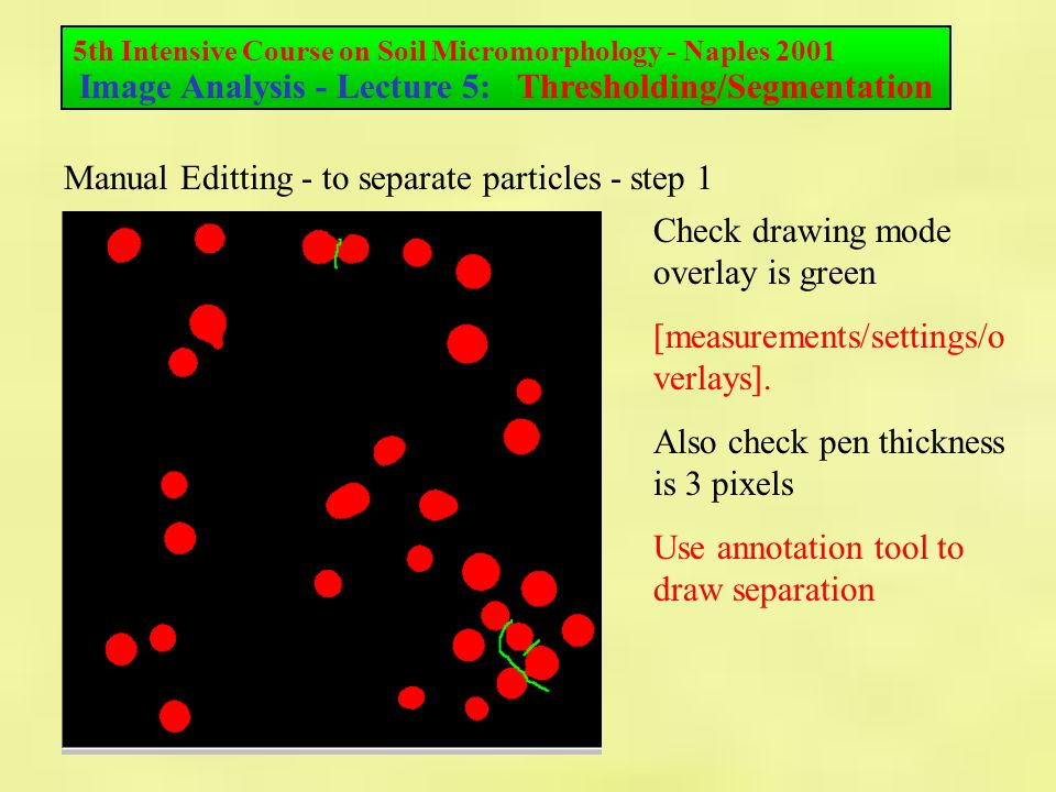 5th Intensive Course on Soil Micromorphology - Naples 2001 Image Analysis - Lecture 5: Thresholding/Segmentation Manual Editting - to separate particles - step 1 Check drawing mode overlay is green [measurements/settings/o verlays].