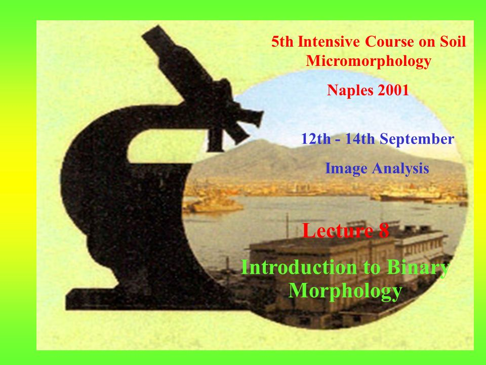 5th Intensive Course on Soil Micromorphology Naples th - 14th September Image Analysis Lecture 8 Introduction to Binary Morphology