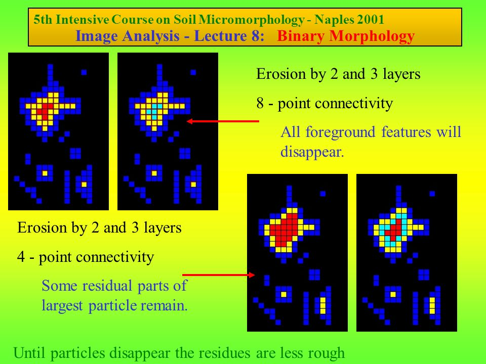 5th Intensive Course on Soil Micromorphology - Naples 2001 Image Analysis - Lecture 8: Binary Morphology Dilation - the reverse of erosion Once again similar criteria apply 8 - point connectivity 4 - point connectivity Individual features will merge