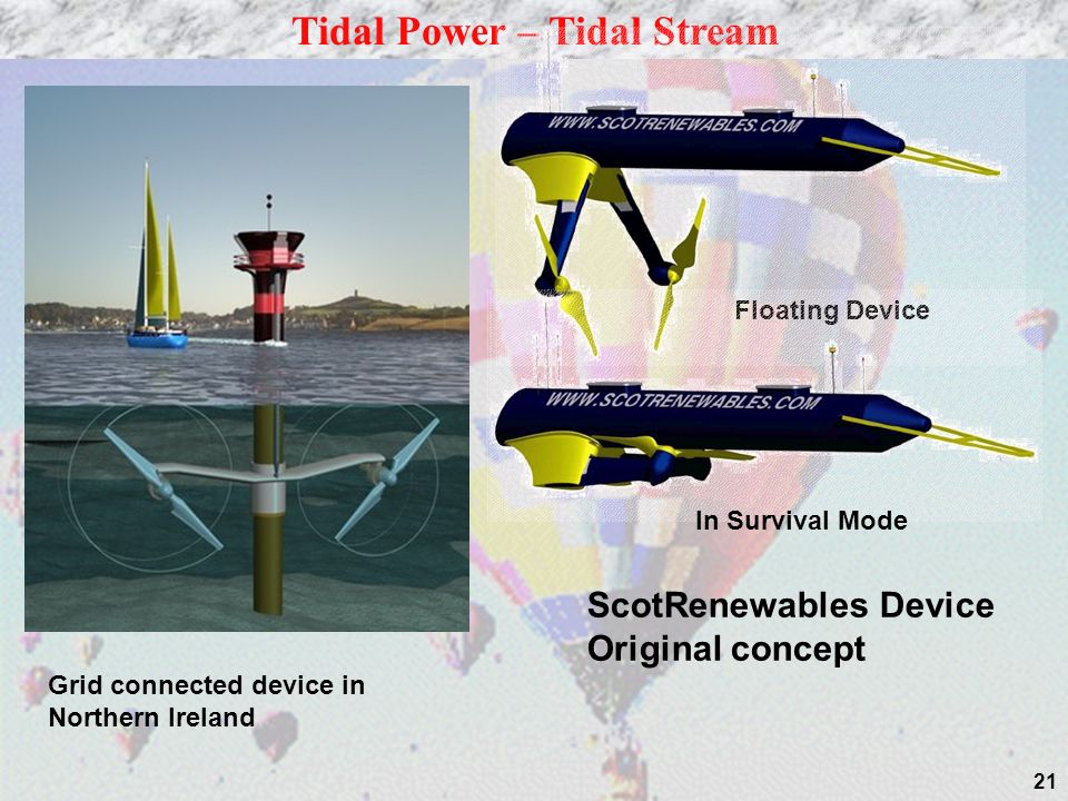 21 Tidal Power – Tidal Stream Floating Device In Survival Mode Grid connected device in Northern Ireland ScotRenewables Device Original concept