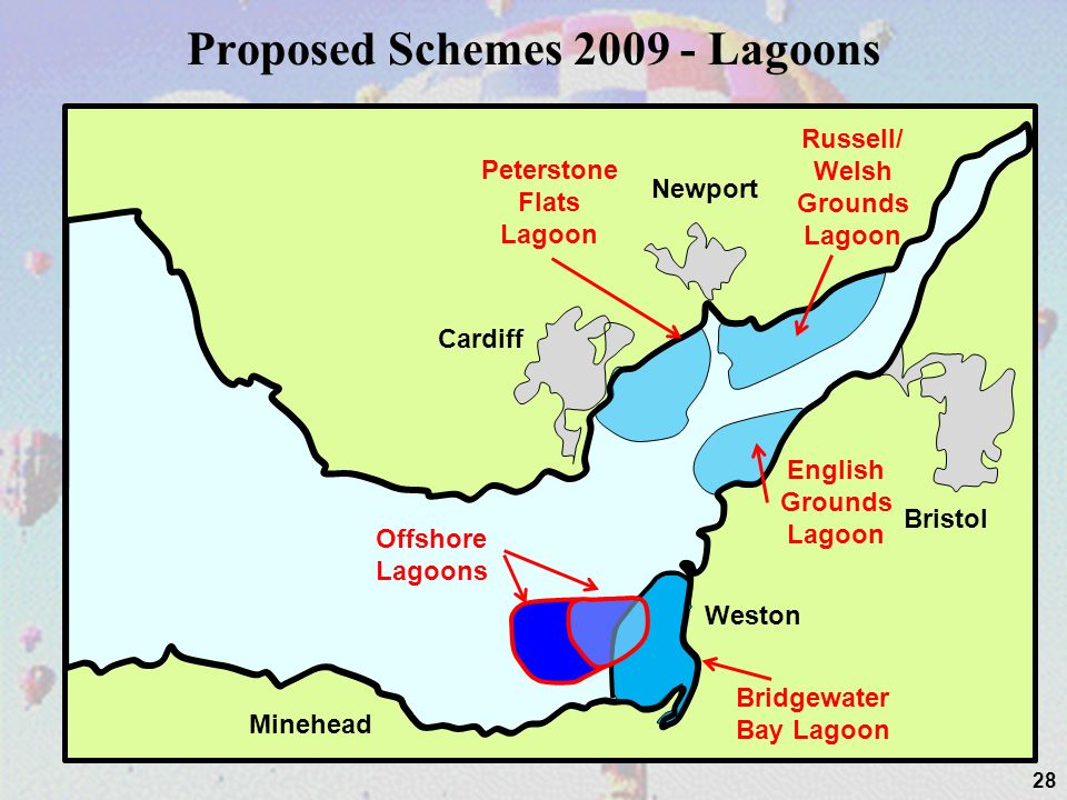 Proposed Schemes Lagoons 28 Cardiff Newport Bristol Weston Minehead Russell/ Welsh Grounds Lagoon Peterstone Flats Lagoon Offshore Lagoons Bridgewater Bay Lagoon English Grounds Lagoon