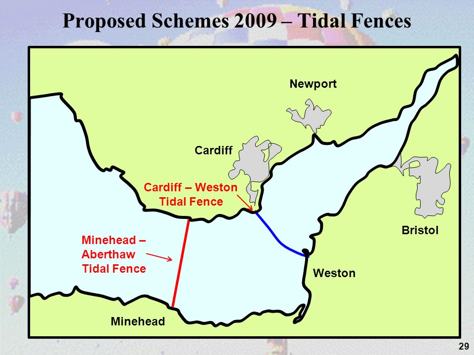 Proposed Schemes 2009 – Tidal Fences 29 Cardiff Newport Bristol Weston Minehead Cardiff – Weston Tidal Fence Minehead – Aberthaw Tidal Fence