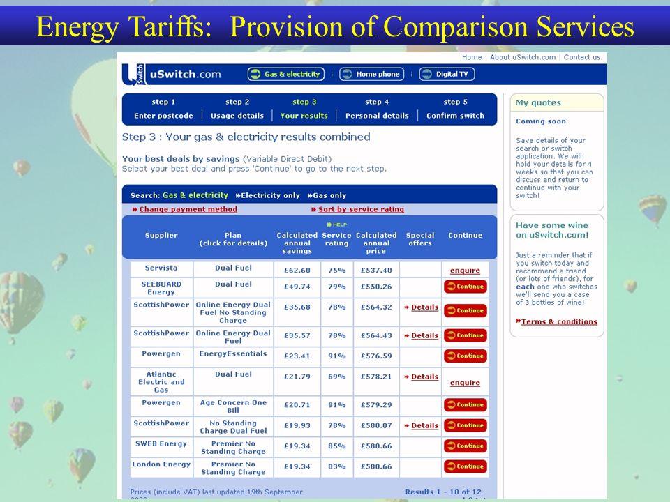Energy Tariffs: Provision of Comparison Services