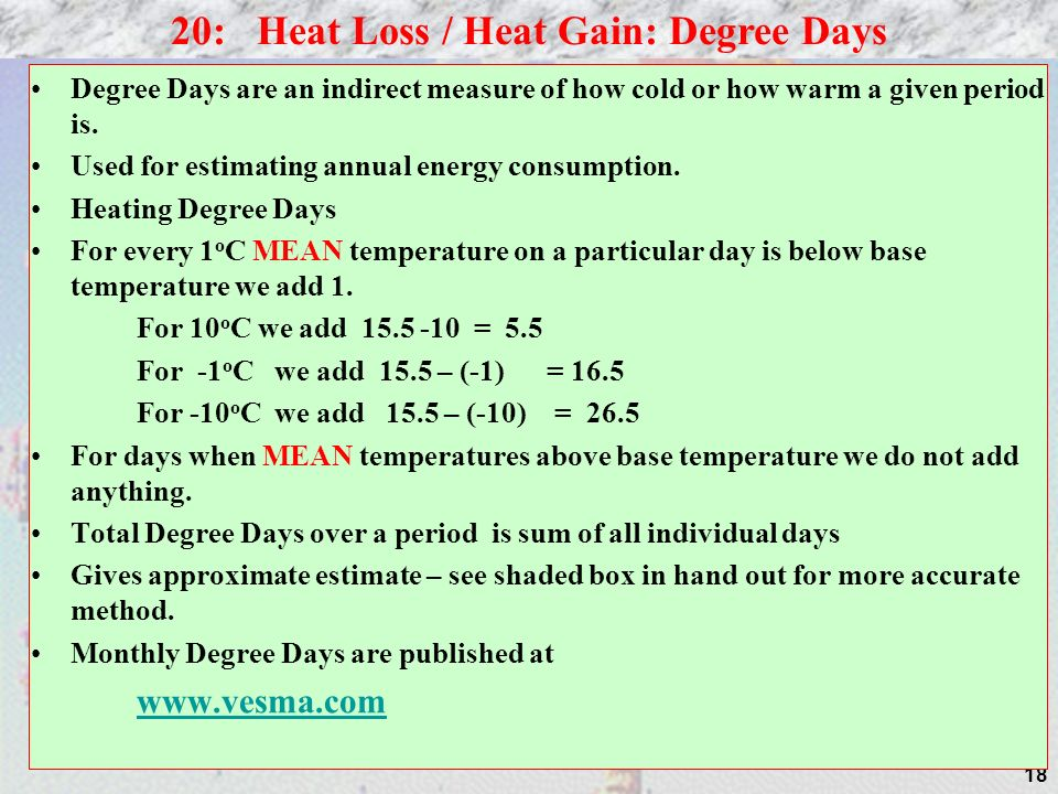 18 Degree Days are an indirect measure of how cold or how warm a given period is. Used for estimating annual energy consumption. Heating Degree Days F