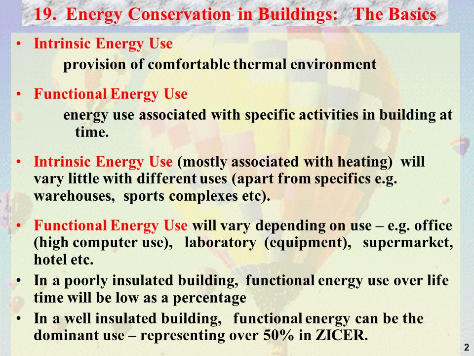 2 19. Energy Conservation in Buildings: The Basics Intrinsic Energy Use provision of comfortable thermal environment Functional Energy Use energy use