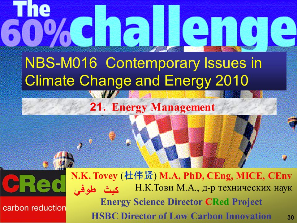 30 NBS-M016 Contemporary Issues in Climate Change and Energy 2010 21. Energy Management N.K. Tovey ( ) M.A, PhD, CEng, MICE, CEnv Н.К.Тови М.А., д-р т