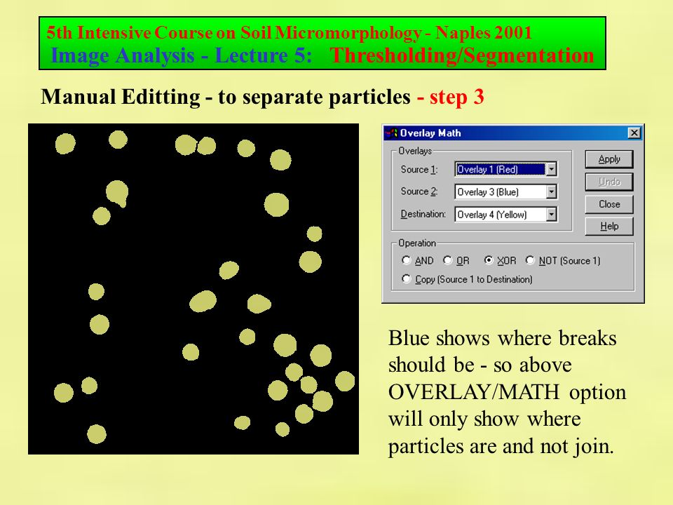 5th Intensive Course on Soil Micromorphology - Naples 2001 Image Analysis - Lecture 5: Thresholding/Segmentation Manual Editting - to separate particles - step 3 Blue shows where breaks should be - so above OVERLAY/MATH option will only show where particles are and not join.
