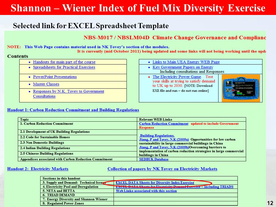 12 Shannon – Wiener Index of Fuel Mix Diversity Exercise Selected link for EXCEL Spreadsheet Template