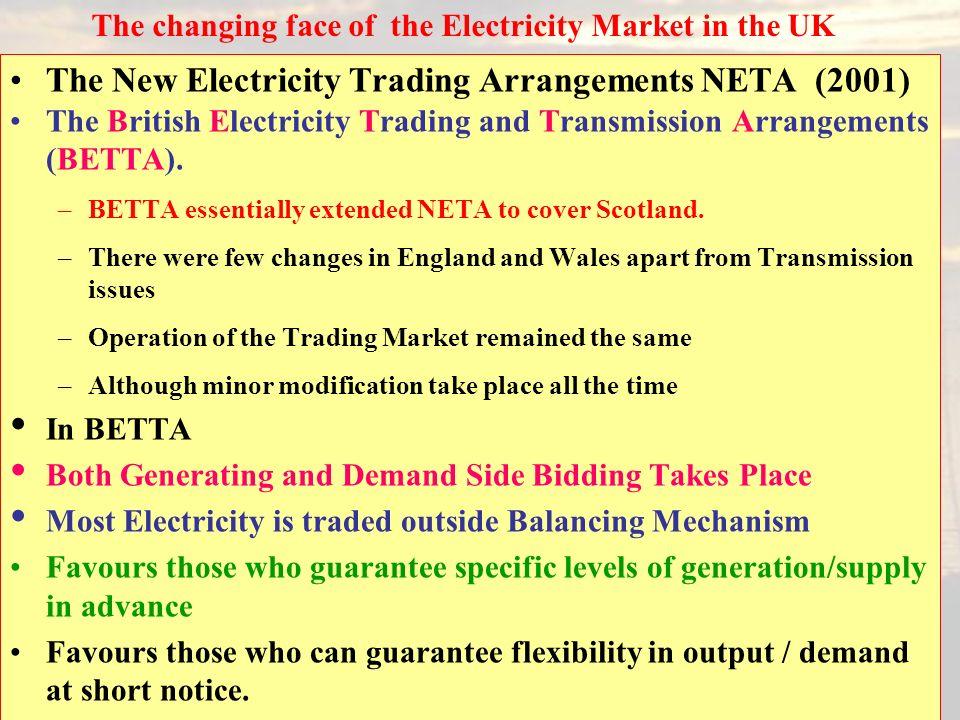 29 The New Electricity Trading Arrangements NETA (2001) The British Electricity Trading and Transmission Arrangements (BETTA). –BETTA essentially exte