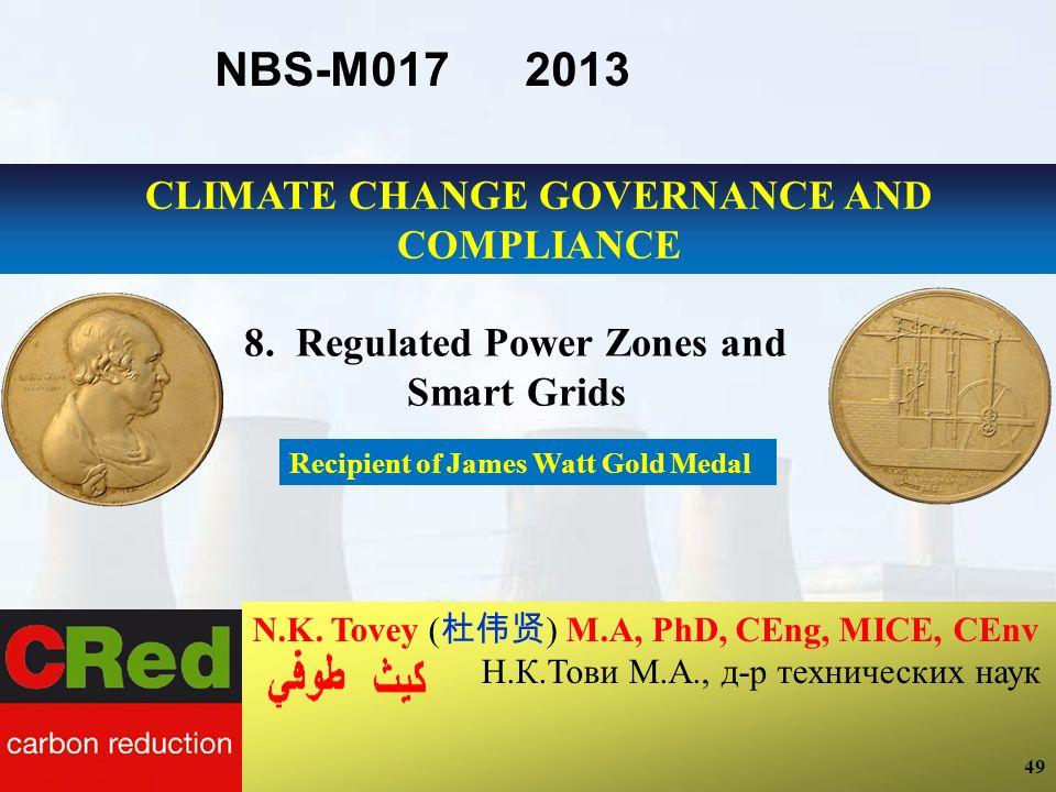 49 N.K. Tovey ( ) M.A, PhD, CEng, MICE, CEnv Н.К.Тови М.А., д-р технических наук Recipient of James Watt Gold Medal 49 NBS-M017 2013 8. Regulated Powe