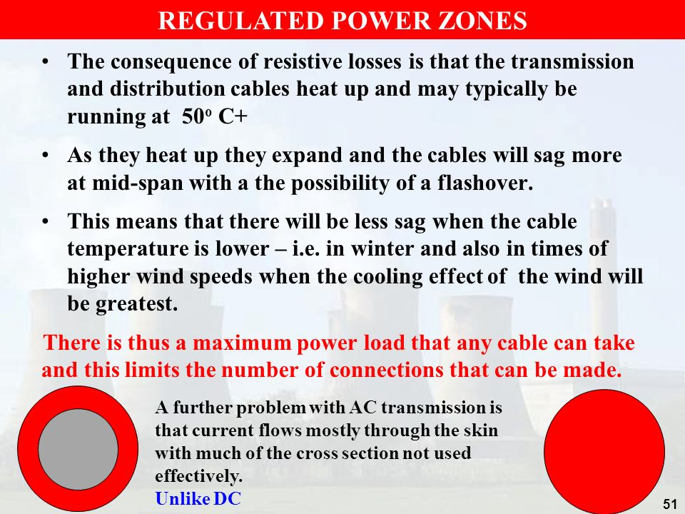 The consequence of resistive losses is that the transmission and distribution cables heat up and may typically be running at 50 o C+ As they heat up t