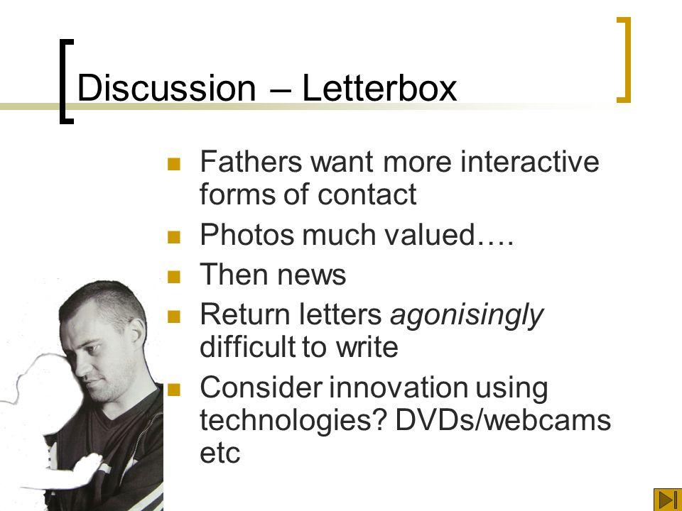 Discussion – Letterbox Fathers want more interactive forms of contact Photos much valued….