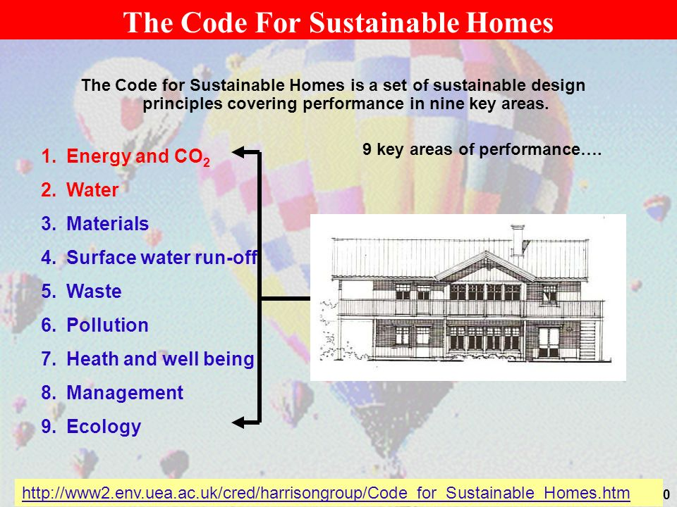30 The Code For Sustainable Homes The Code for Sustainable Homes is a set of sustainable design principles covering performance in nine key areas.