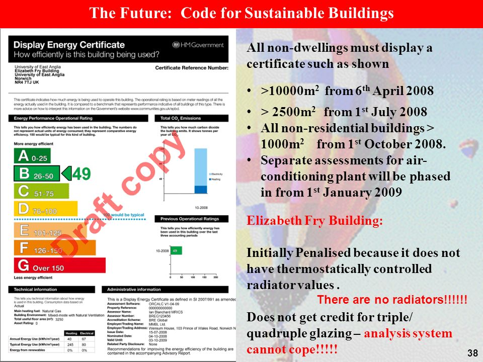 38 The Future: Code for Sustainable Buildings All non-dwellings must display a certificate such as shown >10000m 2 from 6 th April 2008 > 2500m 2 from 1 st July 2008 All non-residential buildings > 1000m 2 from 1 st October 2008.