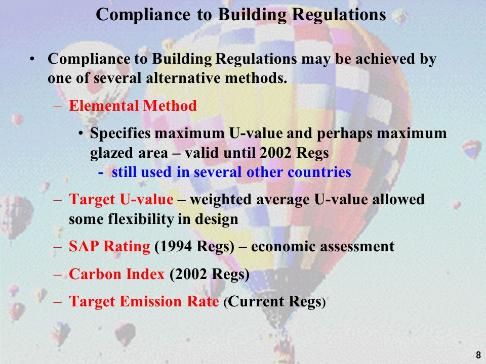 Compliance to Building Regulations Compliance to Building Regulations may be achieved by one of several alternative methods.