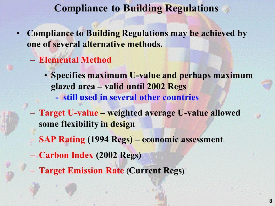 Compliance to Building Regulations Compliance to Building Regulations may be achieved by one of several alternative methods. –Elemental Method Specifi