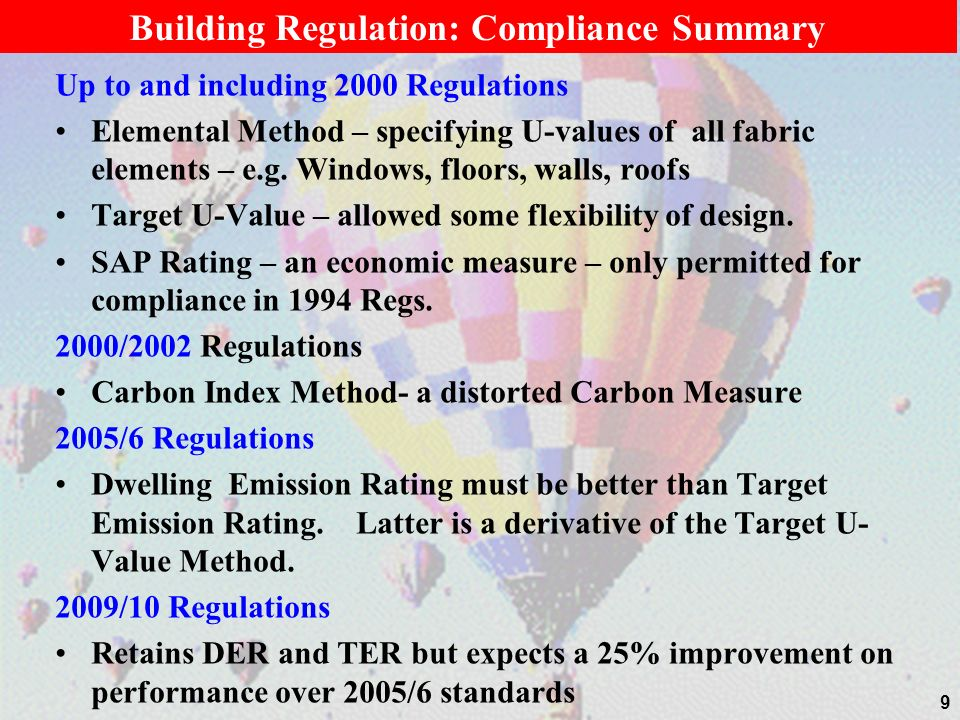 Building Regulation: Compliance Summary Up to and including 2000 Regulations Elemental Method – specifying U-values of all fabric elements – e.g. Wind