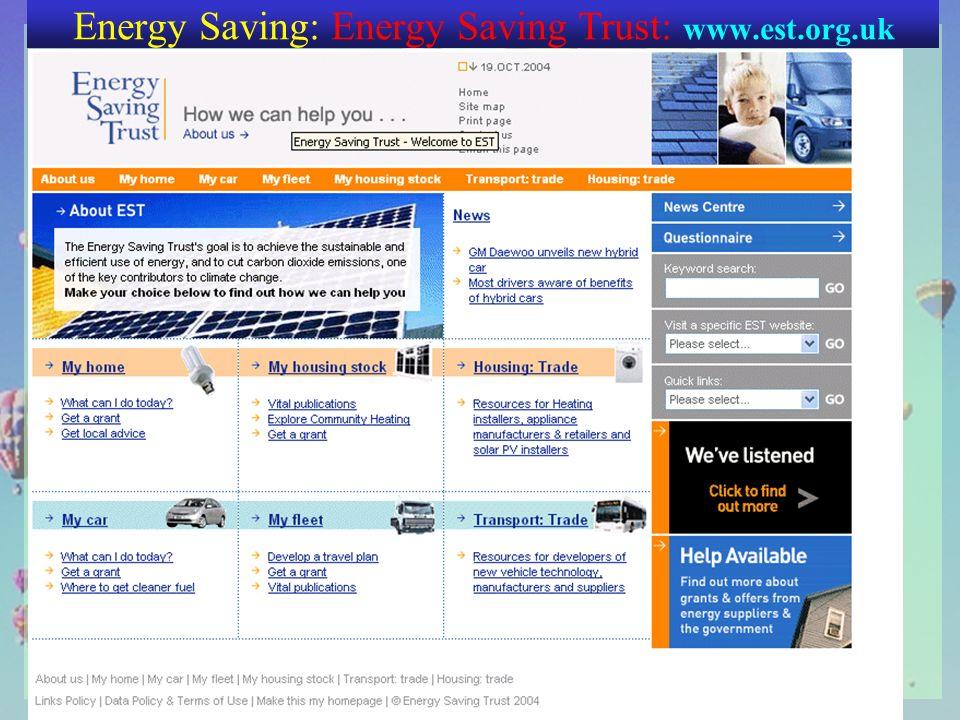 Energy Saving: Energy Saving Trust: www.est.org.uk