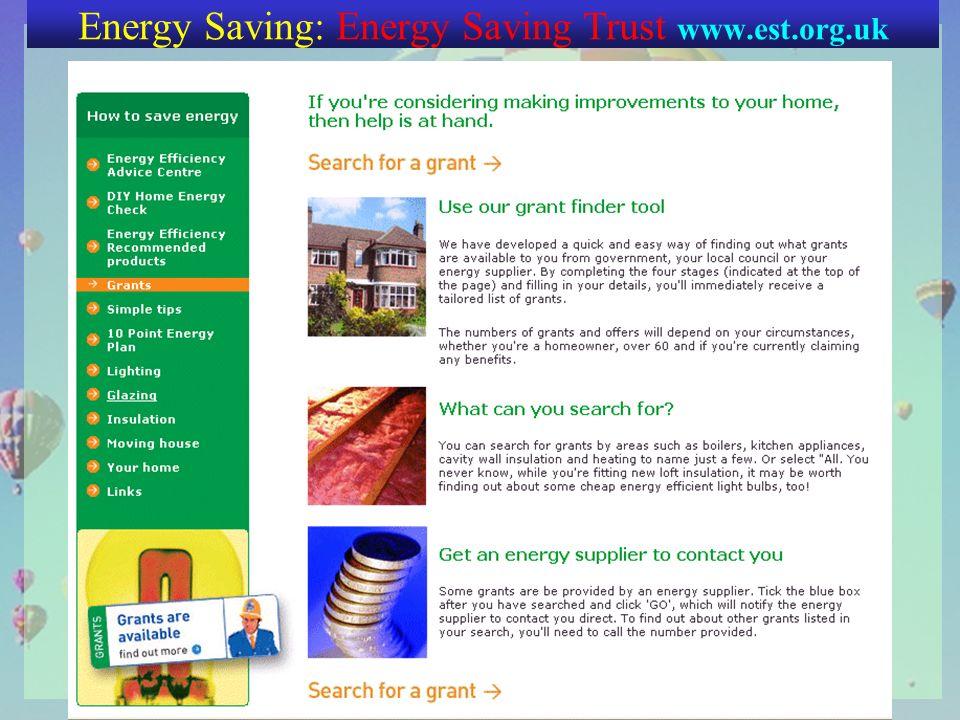 Energy Saving: Energy Saving Trust www.est.org.uk